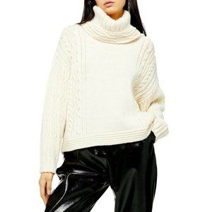Topshop chunky cable knit turtleneck sweater
